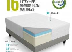 LUCID 16 Inch Plush Memory Foam and Latex Mattress
